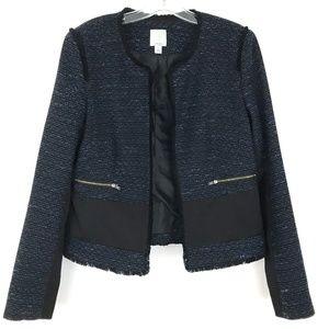 Halogen tweed blazer jacket zipper pocket